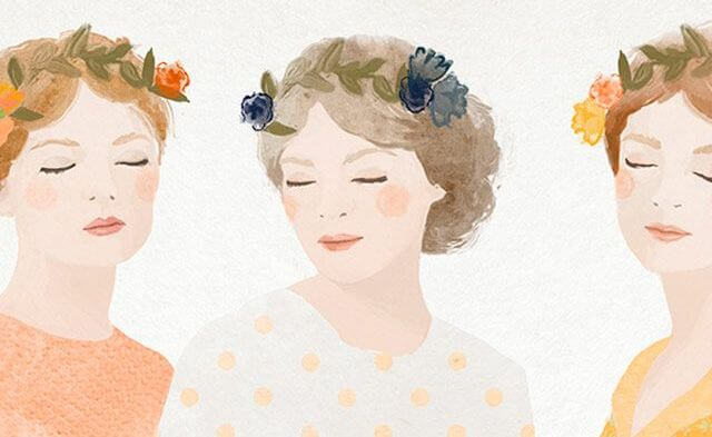 three women with flower crowns