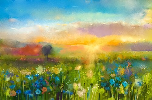 watercolor field of flowers