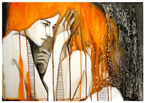 watercolor woman melting