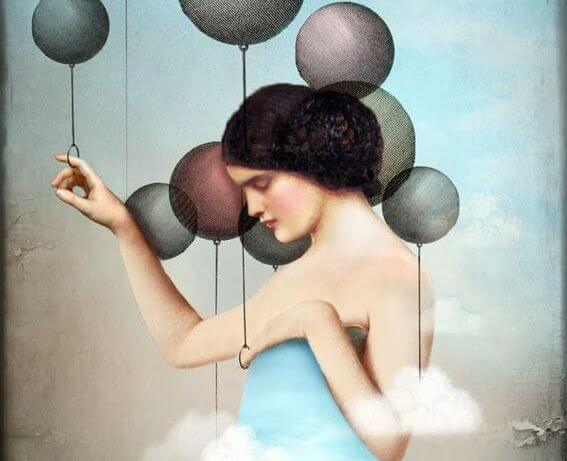 woman and balloons