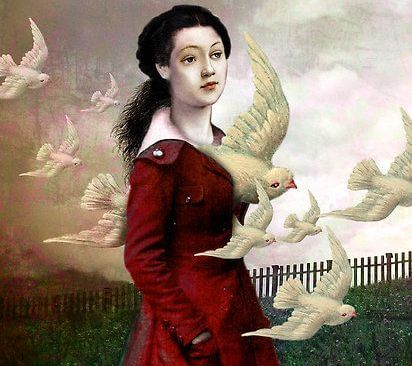 woman and birds