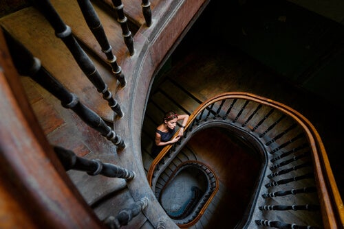 woman in a spiral staircase