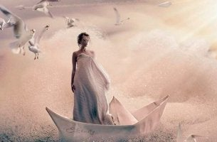 woman on paper boat