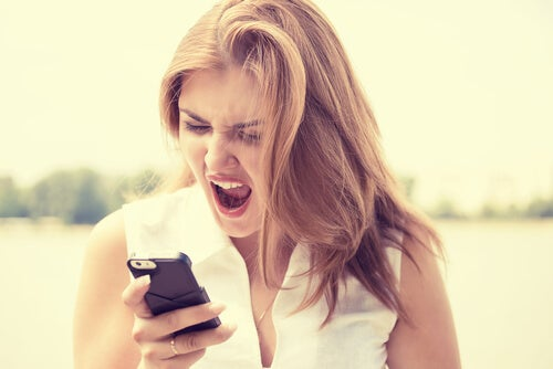 Woman Yelling at Cell Phone