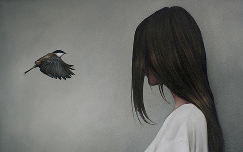 bird woman face to face