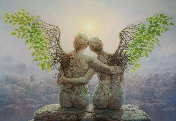 Angel Statues Hugging