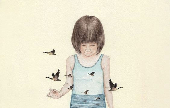 girl surrounded by birds
