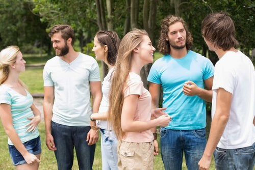 group of young adults conversing