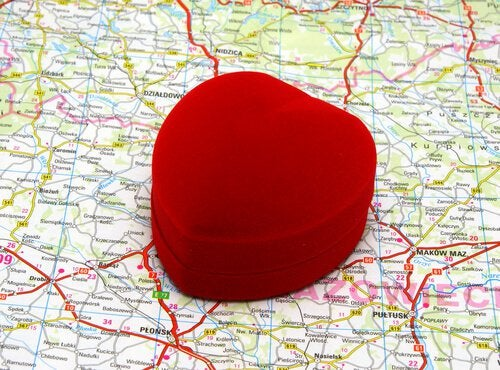heart on top of map