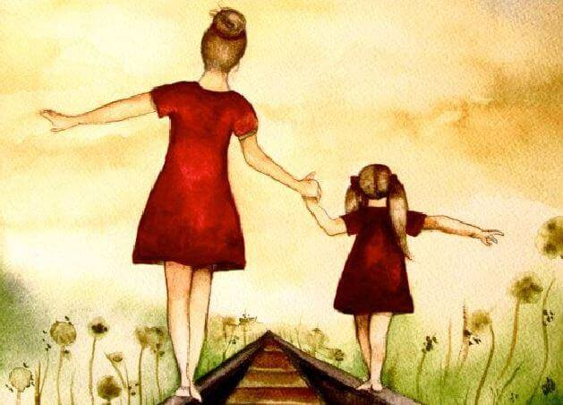 mother and daughter on railroad tracks