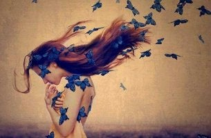 Woman with Blue Butterflies in Hair