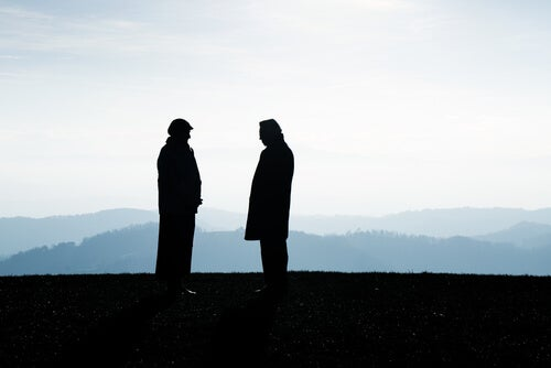 two men in the field