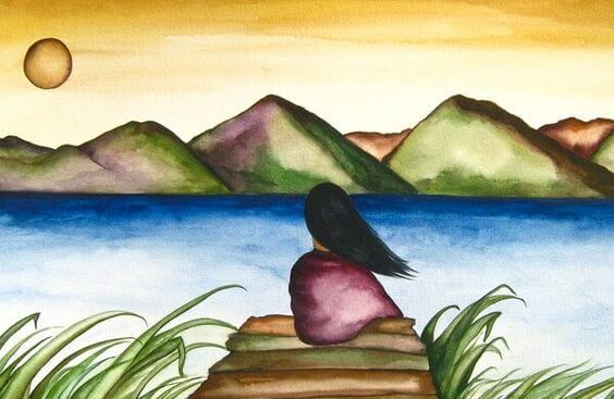 woman in front of a lake-1