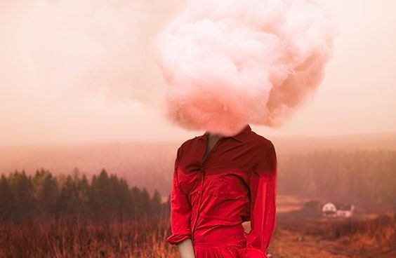 woman with cloud on head
