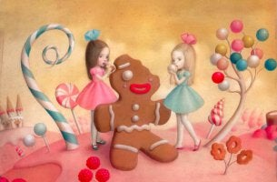 Girls Eating Gingerbread Man