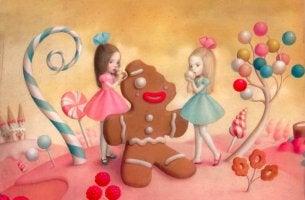 Girls Eating Gingerbread Man