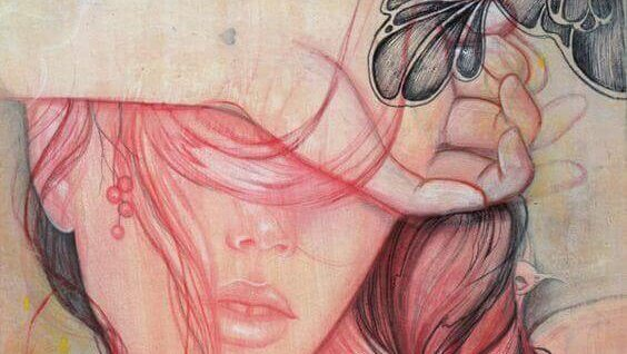 Pink Haired Woman Covering Eyes