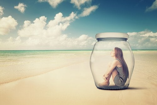 Woman in Jar on Beach