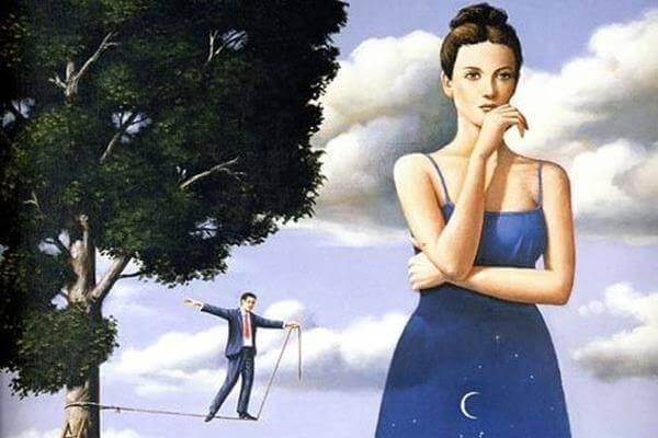 Woman Thinking, Man on Tightrope