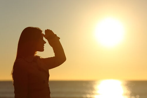 Woman Silhouette Looking at Horizon