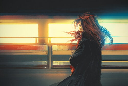 Train Passing Woman