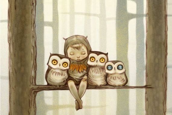 Boy in Tree with Owls
