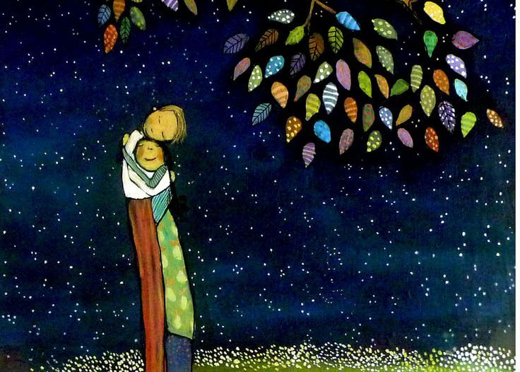 Couple Hugging Under Colorful Tree