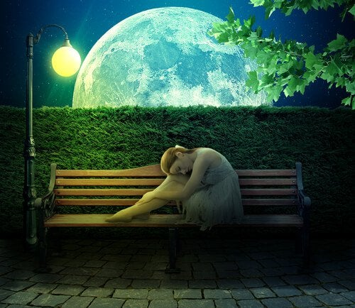 Woman on Bench by Full Moon