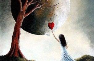girl moon heart