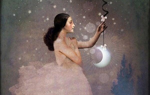 ballerina holding moon
