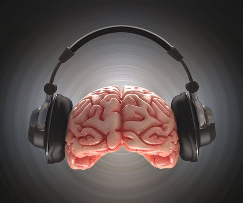 brain wearing headphones
