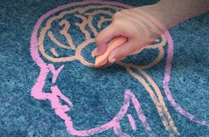 chalk drawing of head and brain