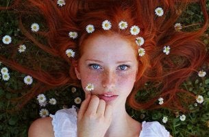 Redhead with Flowers in Hair