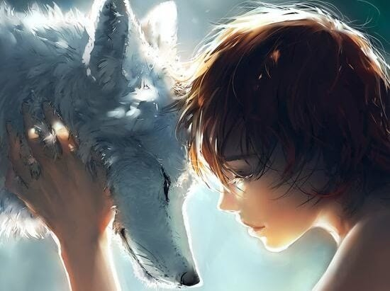child hugging wolf