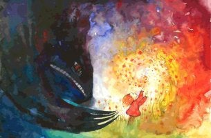 child with bright colors and dark monster