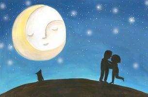couple embracing under moon