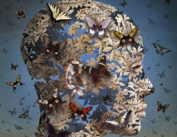 face made of butterflies