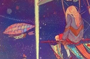 girl on flying ship