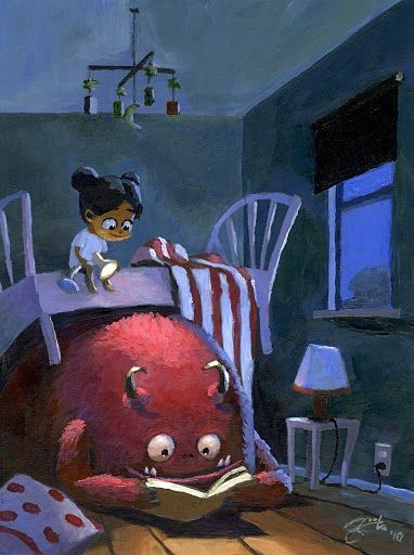 girl reading a book with monster under her bed