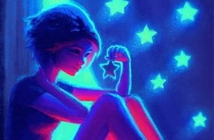 girl with neon stars
