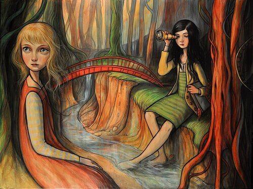 girls across a river