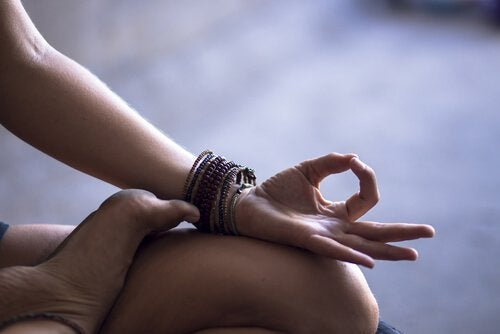 hand in yoga pose