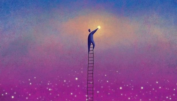 Man on Ladder Touching Moon