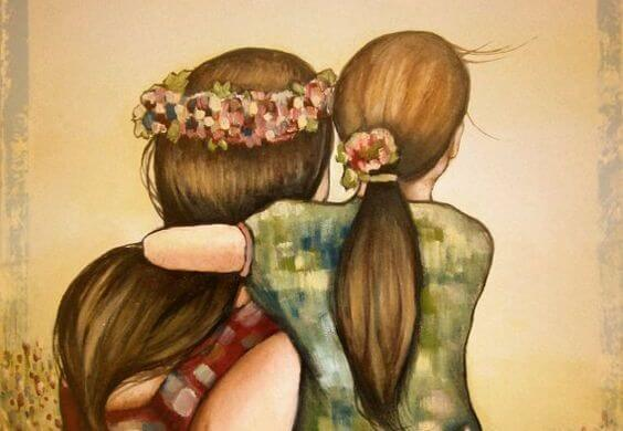 Friends Hugging Flowers in Hair