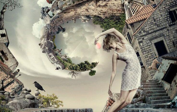 Woman and World Swirling