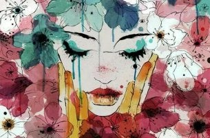 Woman Crying Surrounded by Flowers