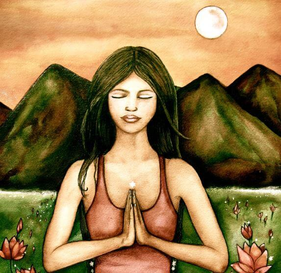 Woman Meditating by Mountains