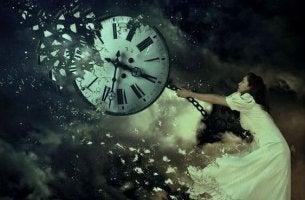Woman Holding Dissolving Clock