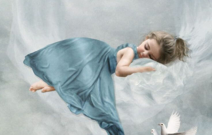 Girl Lying on Cloud