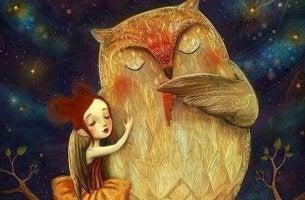 owl hugging a girl